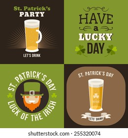 Vector set of St. Patricks Day typographic design elements