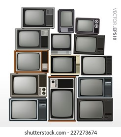 Vector set of stacked retro and vintage televisions