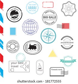 Vector Set of Stamps and Badges. Passport, post, travel stamps.