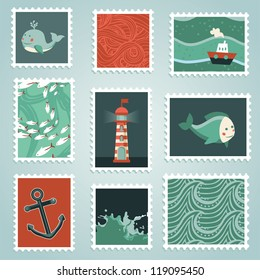 Vector set with stamps and sea design elements - ocean and water