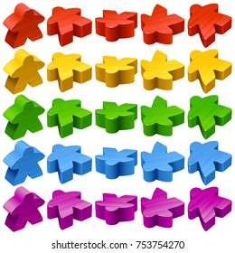 Vector set of standard wooden meeples for board games. Multicolor game pieces isolated on white background. Boardgames symbol for community icons or geek print