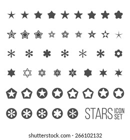 Vector set of star icons and pictograms. Five and six point star collection