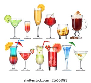 Vector set of stemware and glasses with cocktail. realistic, style