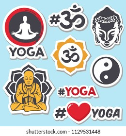 Vector set of sticker icons for yoga and Buddhism. Stickers with: a meditating person, a yoga sign, a yoga symbol, a buddha, a hashtag yoga, heart, a feng shui sign, a meditation sign.