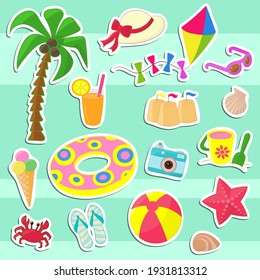 Vector set of stickers with children's vacation at the sea. for design and decoration