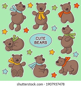 Vector set of stickers with cute cartoon brown bears in colorful scarves and stars, for decoration and design