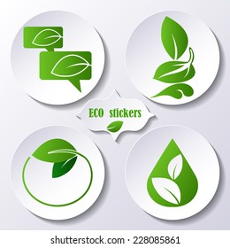 Vector set of stickers, icons environmental protection for design
