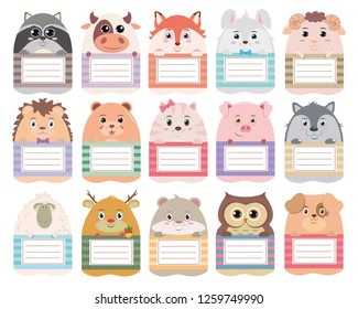 "Vector set of stickers on the notebook ""Forest company"": raccoon, bull, Fox, Bunny, lamb, hedgehog, bear, cat, pig, wolf, sheep, deer, hamster, owl, dog."