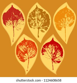 Vector set of stickers with prints of linden leaves. Elements for autumn design.