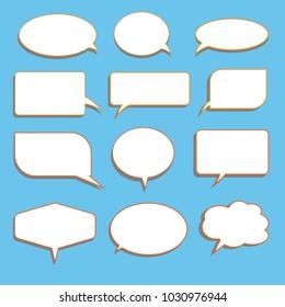 Vector set of stickers of speech bubbles. Blank empty white speech bubbles
