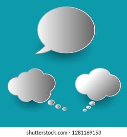 Vector set of stickers of speech bubbles. Blank empty speech bubbles