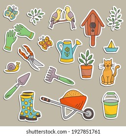 Vector set of stickers for spring gardening theme: tools, gloves, boots, wheelbarrow, bucket, watering can, birdhouse. For design and decoration