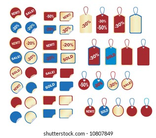 vector set of stickers and tags 2(gold, red and blue, easy to change text)