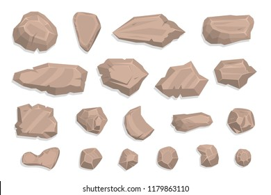 Vector set. Stones. Top view. Collection for landscape design, plan, maps. (View from above)