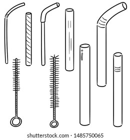 vector set of straw and straw cleaner cartoon