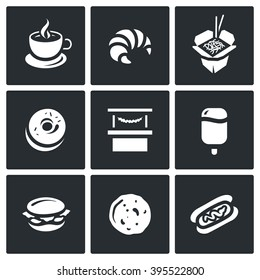 Vector Set of Street Fast Food Icons. Coffee, Croissant, Chinese Noodle, Donut, Shop, Ice Cream, Burger, Pancake, Hotdog. Outlet for the sale of food, drinks and ice cream