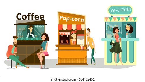 Vector set of street food concept icons isolated on white background. Coffee, popcorn, ice cream food stalls, sales stands or pavilions with sellers and buyers flat style design elements.