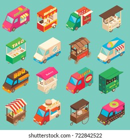 Vector set of street food truck and cart isometric icons. Fast food mobile shops for street food festivals.