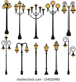 vector set of street lamp set