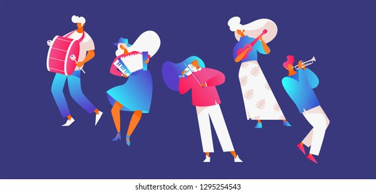 Vector set with street musicians playing music. Group of people, good for festival celebration design