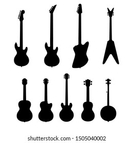 Vector set of string music instruments silhouettes. Electric guitars, acoustic guitars, classic guitar, bass guitar, banjo.