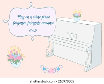 Vector set in the style of Provence. Piano, frame, bucket of flowers, text dividers