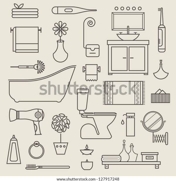 Vector set of stylised various vector icons