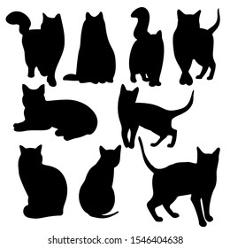 Vector set of a stylish cats. Silhouette of a cats. Modern trend design. Concept for logos, flyers, packs, prints and posters. Pet care, pet food and pets concept