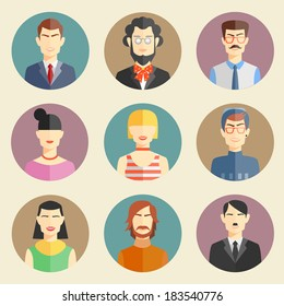 Vector set of stylish handsome characters in modern flat design