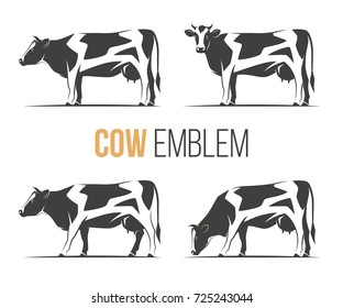 Vector set of a stylish spotted holstein cows. Emblem, logo, label designs.