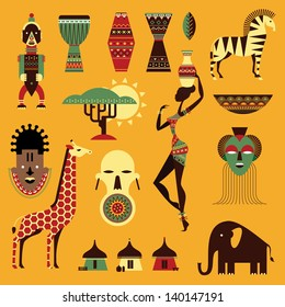 Vector set of stylized african icons