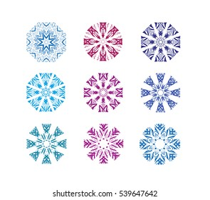 Vector set of stylized blue and violet snowflakes