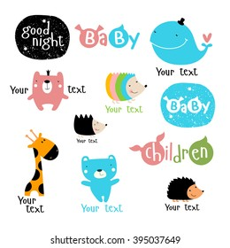 'Vector set of stylized characters and symbols. whale, bear, hedgehog, giraffe, boy, girl, kids. It can be used as a logo for children's products and services. As a poster, postcard invitation.