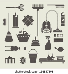 Vector set of stylized cleaning tools icons