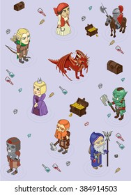 vector set of stylized fantasy characters