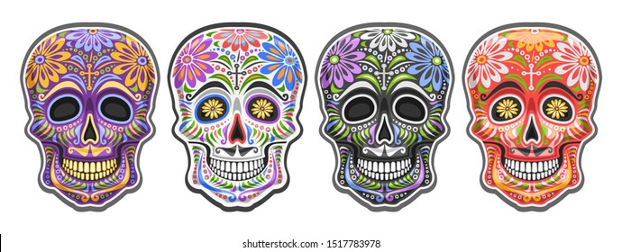Vector set of Sugar Skulls for mexican Day of the Dead, collection of 4 cut out colorful human skulls with ethnic floral ornament for Dia de los Muertos carnival, cartoon smiling masks with mustache.