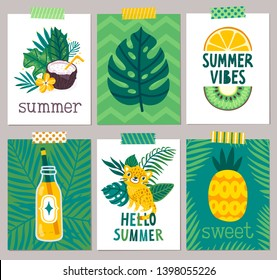 """Vector set of summer cards with palm leaves, coconut drink, jaguar, fruits and hand written text """"Summer vibes"""", """"Hello summer"""". Tropical background with exotic plants. Floral poster. Invite template."""