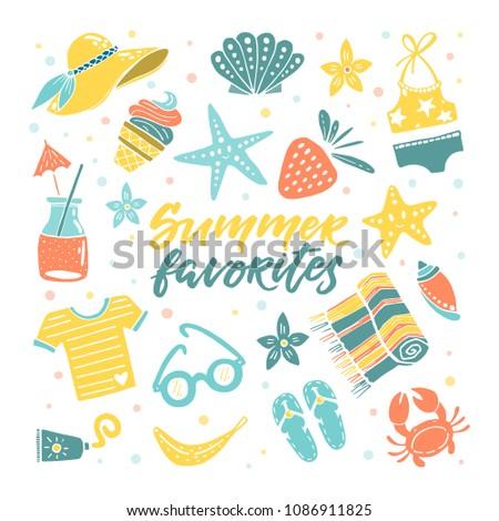 12fbcf405364c Vector Set Summer Favorites Hat Starfish Stock Vector (Royalty Free ...