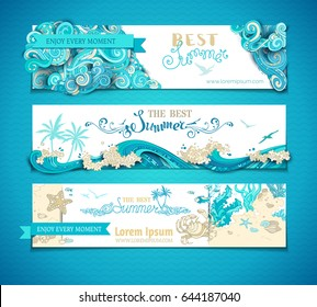 Vector set of summer marine horizontal banners. The best summer. Ornate clouds. Sea/ocean waves. Underwater wild life. Algae, fish, starfish, crab. There is place for your text on white background.