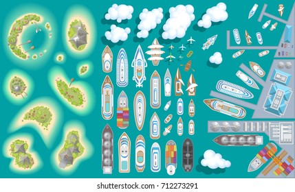 Vector set. Summer vacation. Islands, ships, ports. (top view) Time to travel - sun, sea, island, sand, yacht, airplane, clouds. (view from above)