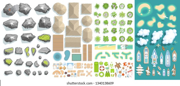 Vector set. Summer vacation. Tropical islands. (top view) Bungalows, Islands, yachts, palm trees, furniture, rocks. (view from above)