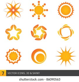 Vector Set of Sun Icons. Graphic Design Editable For Your Design.