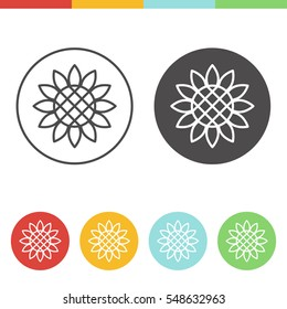 Vector set of sunflower icons in thin line style