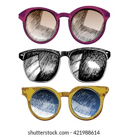 Vector set of sunglasses. Trendy hipster sunglasses, yellow and rose round glasses, black monochrome  wifier. Summer protection accessory.