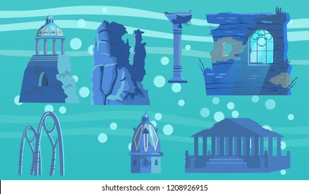 Vector set of sunken ruins of ancient city. Ancient pavilion ,rotunda,  columns, archs, gates, towers, acropolis, wall with window.