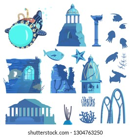 Vector set of sunken ruins of ancient city, submarine, underwater animals and plants silhouettes. Ancient pavilion ,rotunda,  columns, archs, gates, towers, acropolis, wall with window.