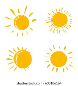 Vector set of suns. Four painted solar symbols.