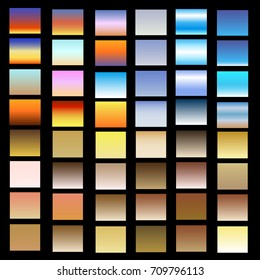 Vector set of sunset and sunrise sky and other gradients. A set of backgrounds