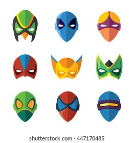 vector set of super hero masks in flat style. Pictures isolate on white background