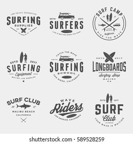 vector set of surfing logos, emblems and design elements.  surf logotype templates and badges